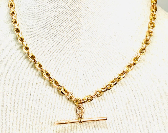 Superb antique Victorian 9ct rose gold 16 inch fancy link Albert chain necklace with t-bar - 18.4gms