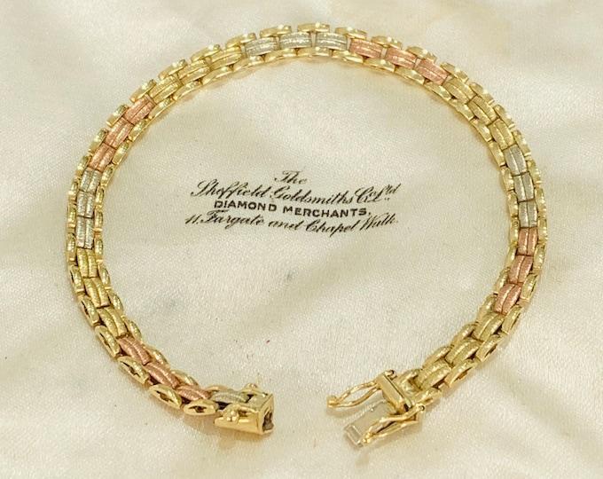 Stunning vintage 9ct tricolour gold 7 1/2 inch bracelet - fully hallmarked