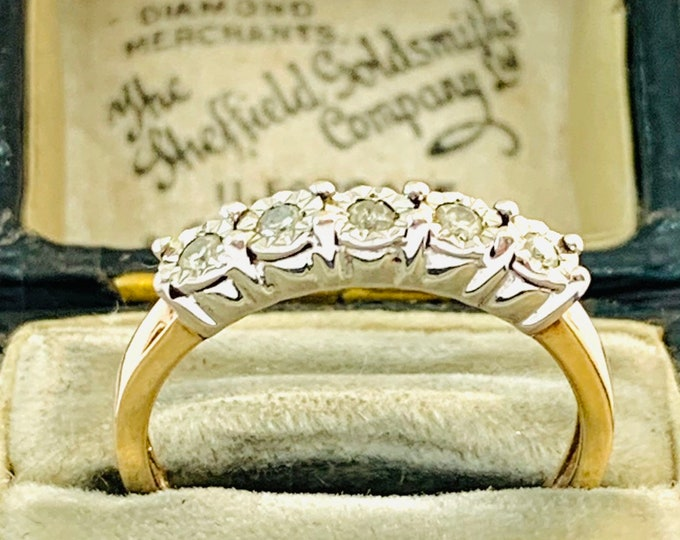 Superb sparkling vintage 9ct yellow and white gold Diamond eternity ring - fully hallmarked - size P - 7 1/2
