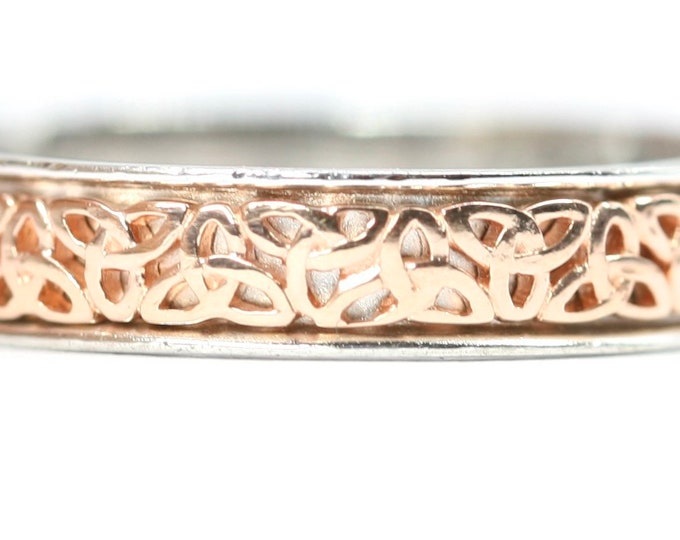 Clogau - Gold of Royalty - Rare Welsh 9ct rose gold and sterling silver Celtic Knot pattern ring - size P or US 7 1/2