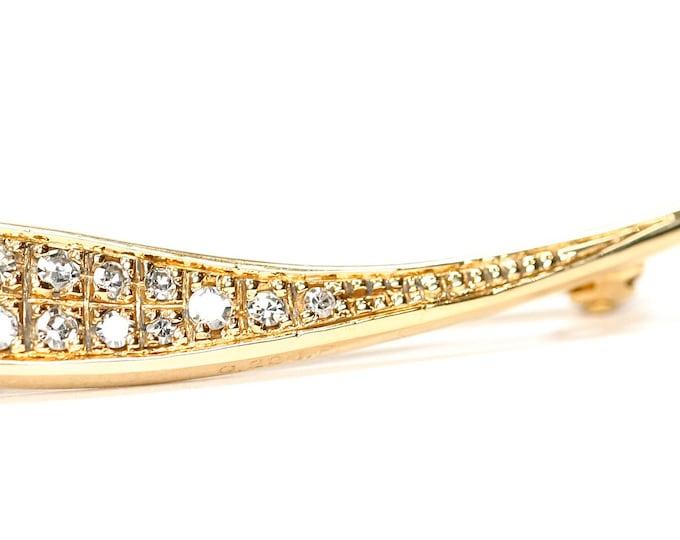 Beautifully sparkling vintage 9ct gold 0.22 carat Diamond brooch - hallmarked Birmingham 1981