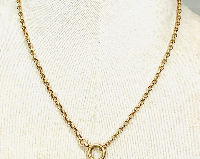 Superb Victorian 9ct rose gold 17 inch necklace with bolt ring fastener