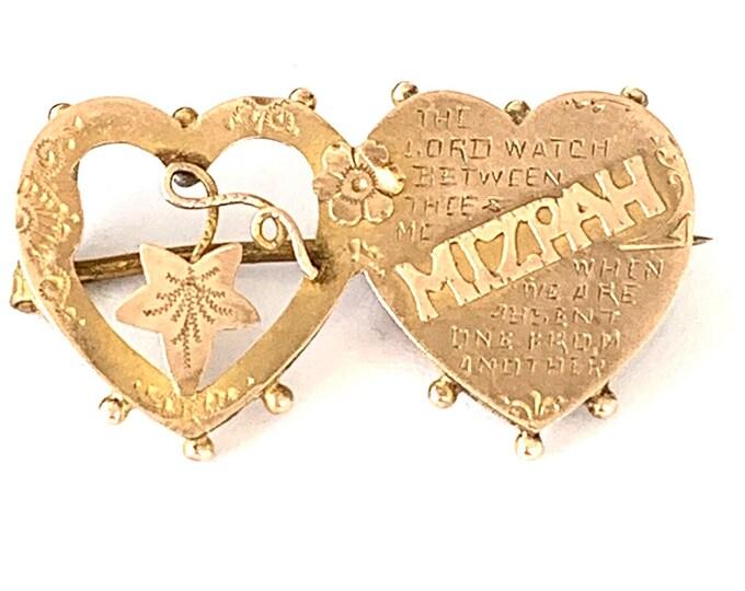 Victorian 9ct gold Mizpah sweetheart brooch