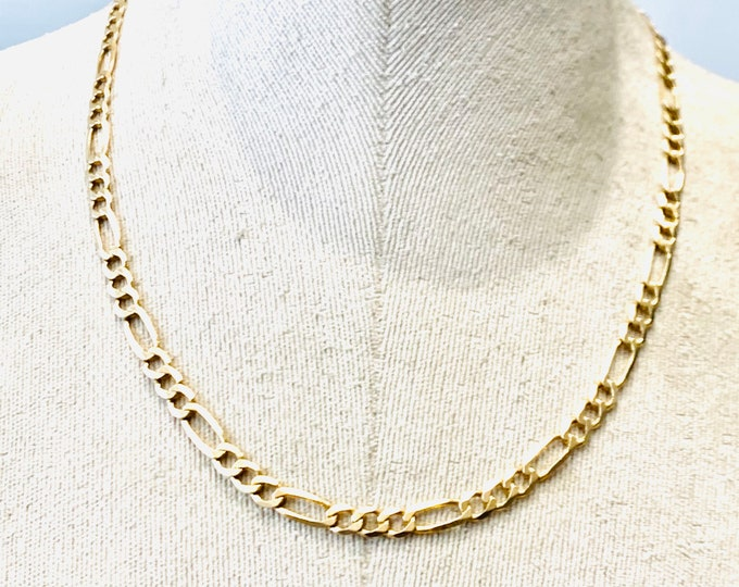 Superb vintage 9ct yellow gold 20 inch Figaro chain - fully hallmarked - 17.7gms