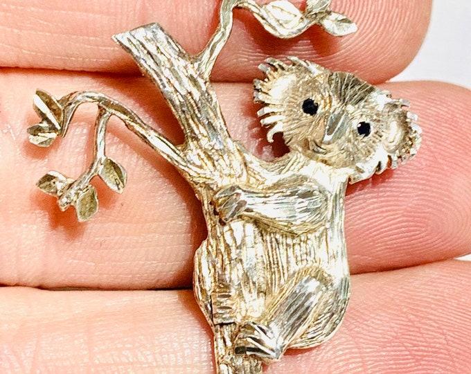 Vintage sterling silver & Sapphire Koala bear brooch
