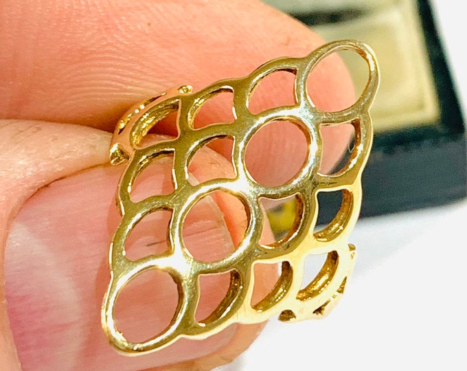 Stunning vintage 9ct yellow gold open patterned ring - London 1980 - size L - 5 1/2