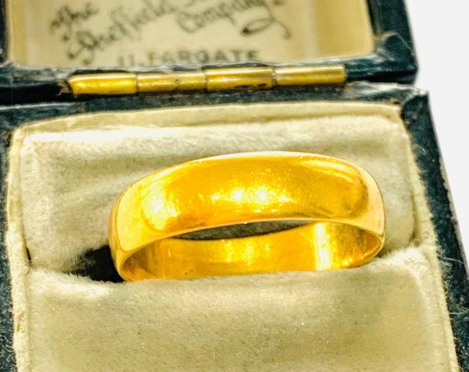 Antique 22ct gold wedding ring - Birmingham 1939 - size N - 6 1/2