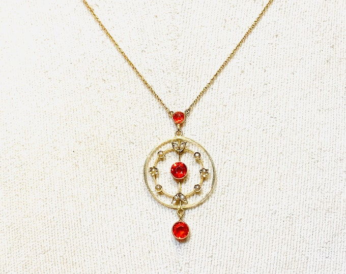 Beautiful Edwardian 9ct gold red paste and seed Pearl 17 inch Lavalier in the original case - early 1900's