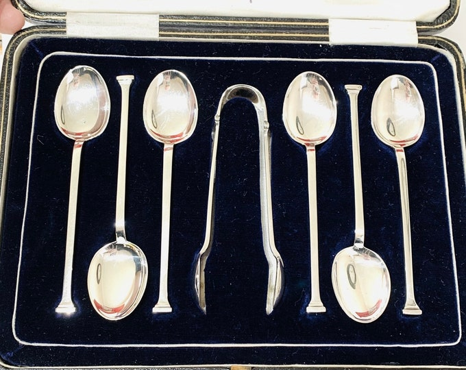 Superb antique cased set of sterling silver teaspoons and sugar tongs - Made in Sheffield in 1920 - William Gallimore & Sons