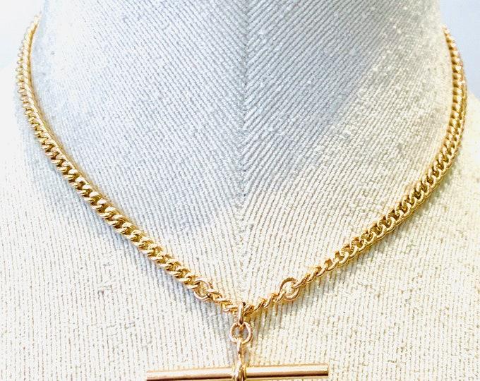 Superb antique 9ct rose gold 15 inch Albert chain necklace with t-bar - hallmarked Birmingham 1925 - 23.2gms