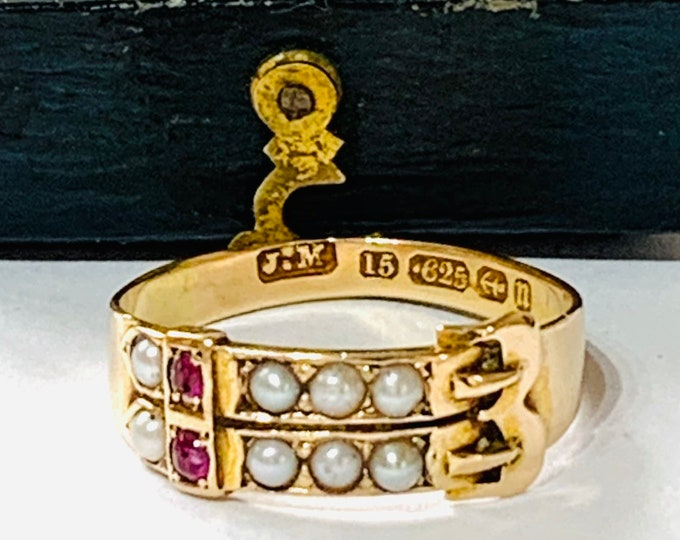Superb rare 107 year old 15ct gold Ruby and Pearl double buckle ring - Hallmarked Birmingham 1912 - size Q or 8