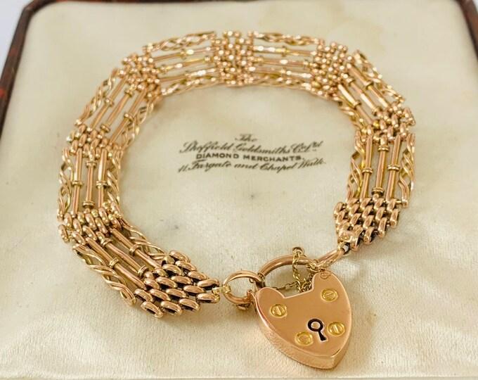 Superb antique Edwardian 9ct rose gold 7 1/2 inch fancy link gate bracelet