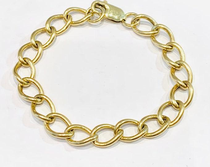 Stunning vintage 9ct yellow gold 8 inch large link bracelet - 8.8gms