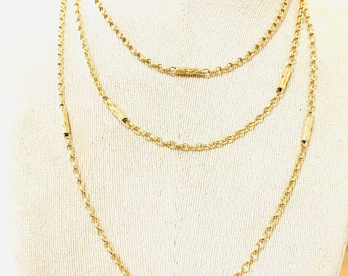 Stunning antique 9ct yellow gold 60 inch Muff chain - fully hallmarked