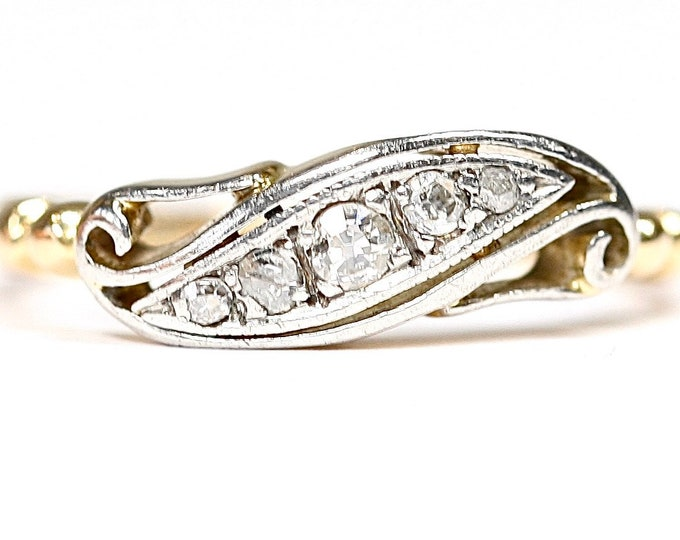 Beautiful antique 18ct gold Diamond ring / engagement ring - size N or US 6 1/2