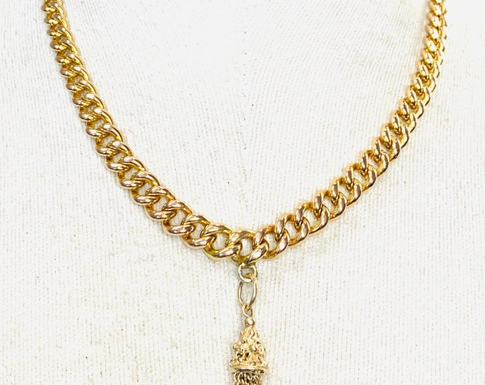 Beautiful antique Victorian 9ct gold 17 inch graduated Albert chain with Tassel pendant - 51gms