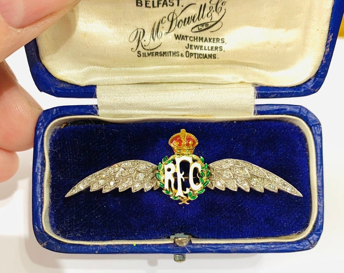 Extremely rare / unique 15ct gold World War 1 Royal Flying Corps Diamond and Enamelled Sweetheart brooch - circa 1914 - 18