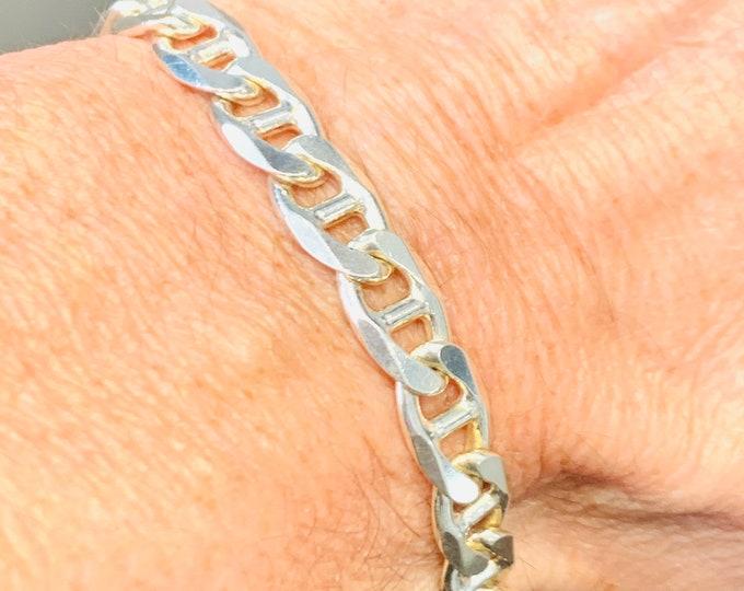 Superb vintage sterling silver 8 1/2 inch Anchor link bracelet - fully hallmarked - 24gms