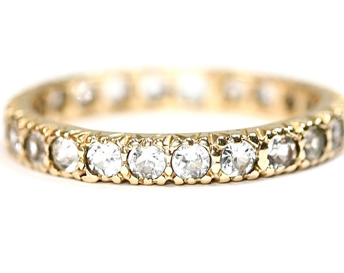 Sparkling Vintage 9ct gold Cubic Zirconia eternity ring - size N or US 6 1/2