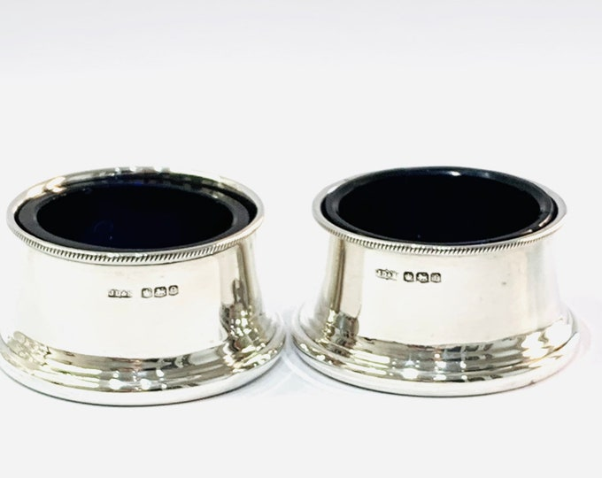 Superb antique sterling silver Salts with Bristol Blue glass liners - Made in Sheffield in 1922 by James Dixon & Sons