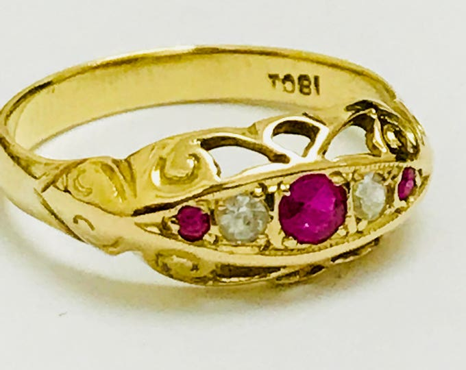 Fabulous antique 18ct gold Ruby & Diamond boat ring