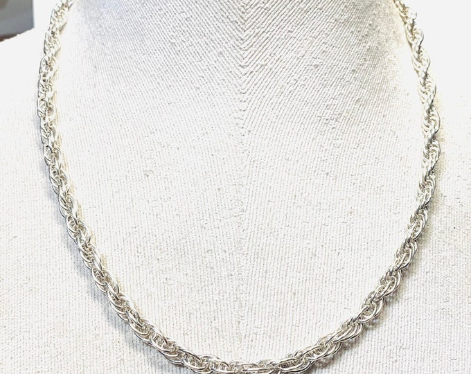 Vintage sterling silver 20 inch rope twist chain - fully hallmarked