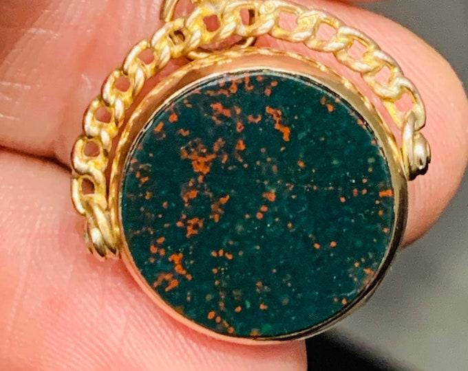 Superb antique 9ct rose gold Carnelian and Bloodstone spinning fob pendant - hallmarked Birmingham 1923