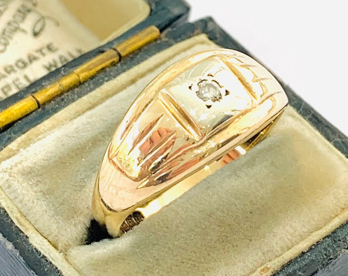 Superb vintage 9ct yellow and white gold Diamond signet / pinky ring - Birmingham 1969 - size S - 9