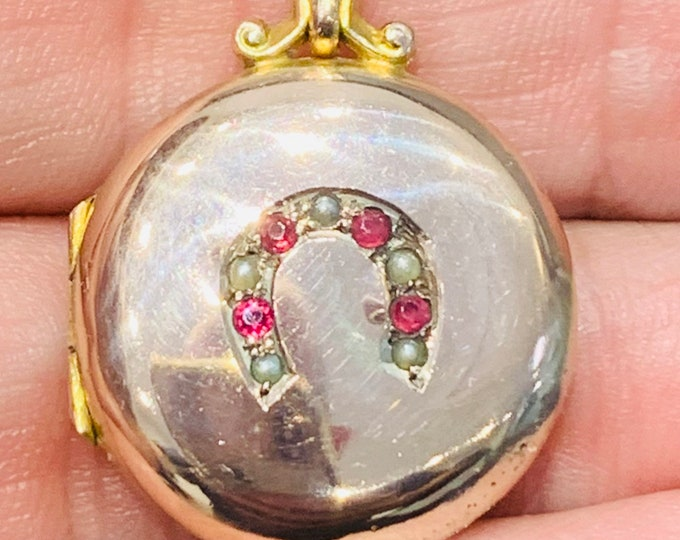 Victorian 15ct gold Ruby & Seed Pearl lucky horseshoe locket