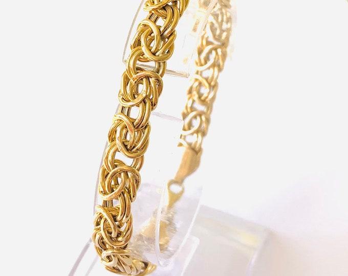 Superb vintage 9ct yellow gold 7 1/2 inch fancy link bracelet - fully hallmarked