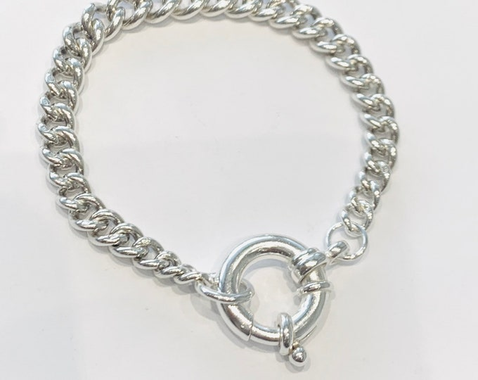 Antique sterling silver graduated Albert chain bracelet with oversized bolt ring fastener - 7 1/4 inches in length