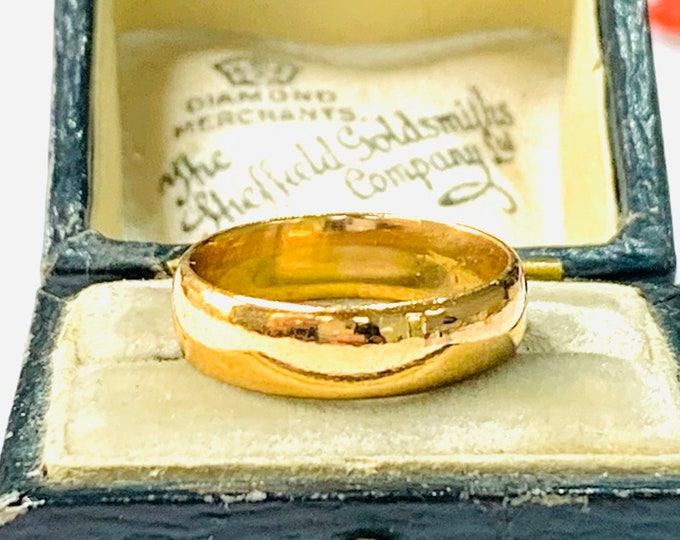 Stunning 100 year old 22ct gold wedding ring - Birmingham 1919 - size H - 4