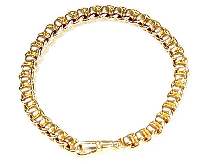 Superb vintage 9ct yellow gold 8 inch Rollerball / Rolo bracelet - fully hallmarked - 23.3gms