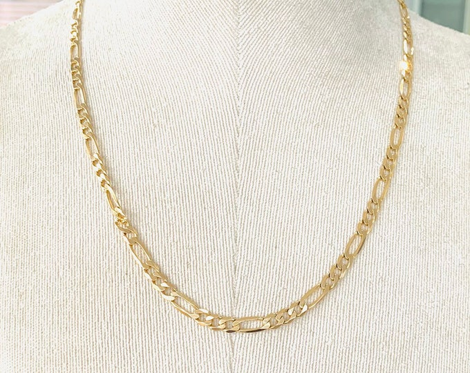 Superb vintage 9ct yellow gold 20 inch Figaro link chain - fully hallmarked - 17gms