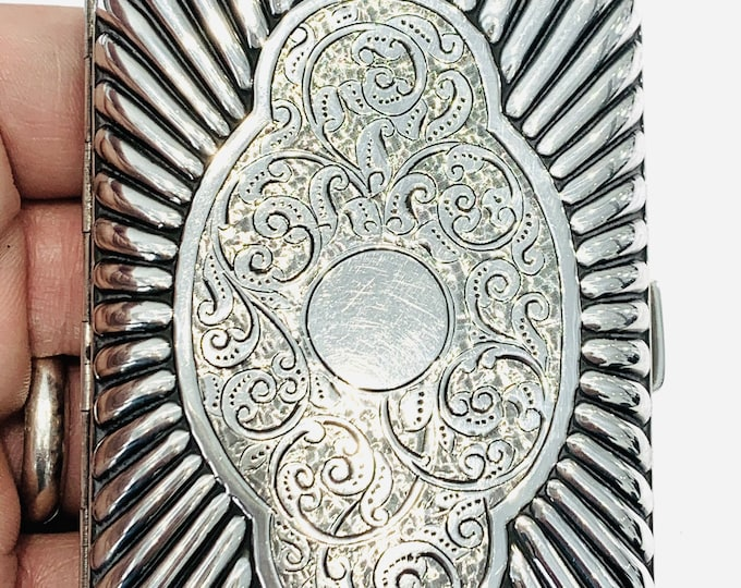 Superb antique Victorian sterling silver cigarette case with ribbed & engraved decoration - hallmarked Birmingham 1888