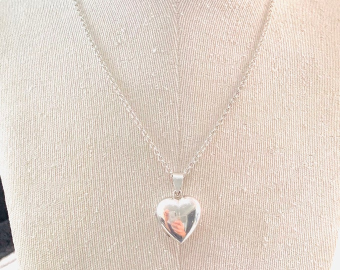 Vintage sterling silver 19 inch double picture heart locket necklace