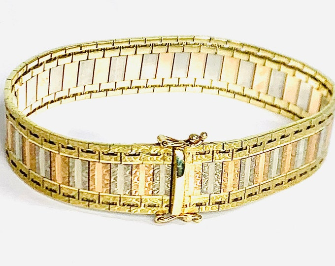 SOLD***DEPOSIT PAID ***Superb heavy vintage 9ct three colour gold 7 inch bracelet - hallmarked London 1979 - 28.5gms
