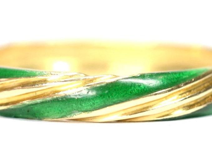 Superb vintage 18ct gold enamelled ring / wedding band - size N or US 6.5