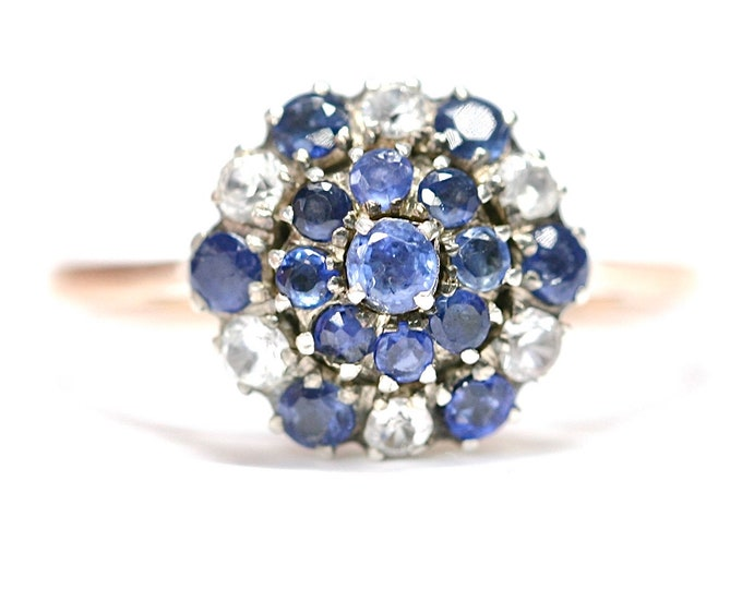 Sparkling vintage 9ct rose gold blue & white Sapphire cluster ring - size O or US 7