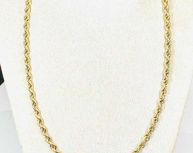 Superb vintage 9ct gold 25 inch rope twist chain - fully hallmarked - 17gms