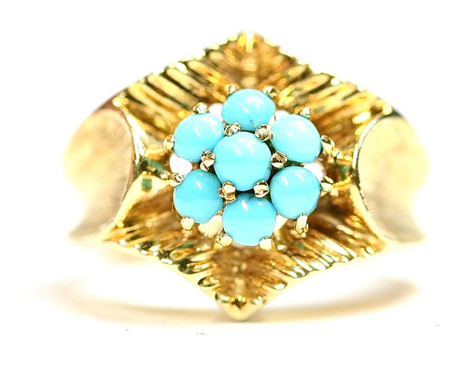 Fabulous heavy vintage 18ct yellow gold Turquoise statement ring - stamped 750 - size N or US 6.5 - 8.8gms
