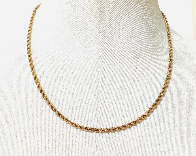 Vintage 9ct rose gold 18 inch rope twist chain - fully hallmarked