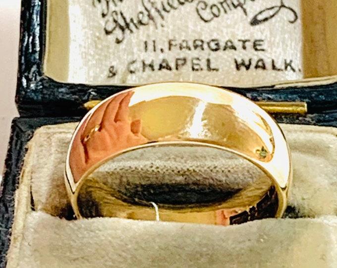 Superb vintage 9ct yellow gold wedding ring - Birmingham 1958 - size N - 6 1/2