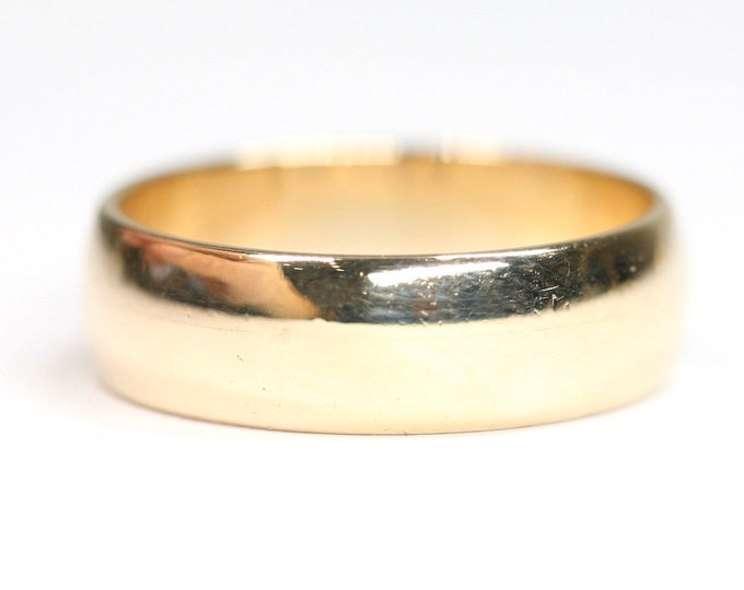 Superb vintage 9ct yellow gold wedding ring - hallmarked London 1981 - size N or US 6 1/2