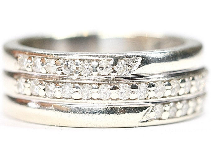 Superb heavy vintage 9ct white gold 3 row diamond ring - fully hallmarked - size N or US 6 1/2