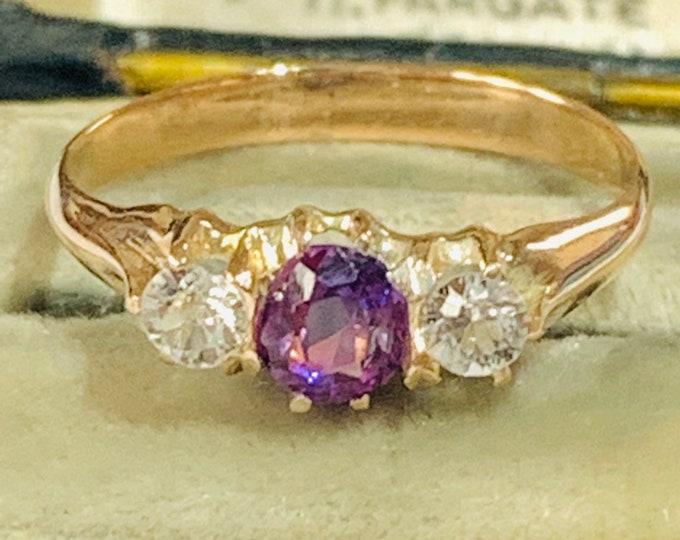 Stunning antique 9ct rose gold ring with an old European cut Amethyst and white Sapphires - circa 1900 - size H / 4