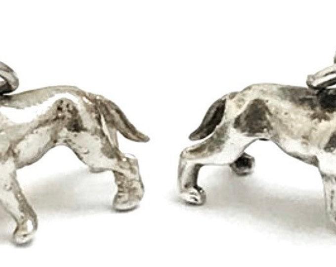Superb matching vintage Sterling silver bulldog pendants - hallmarked Sheffield 1984