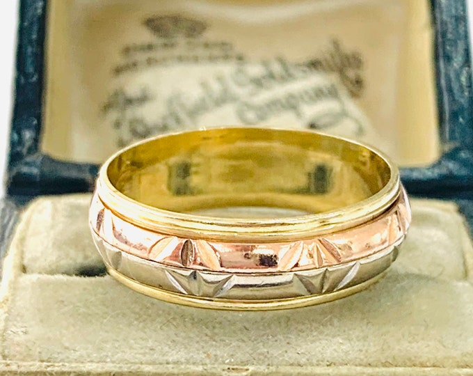 Stunning vintage 14ct three colour gold Spinner ring - fully hallmarked - size N or 6  1/2