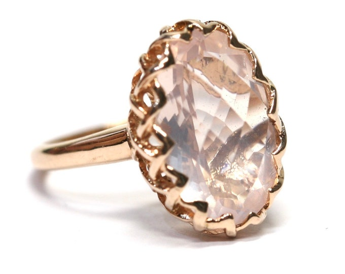 Superb vintage 9ct rose gold Rose Quartz statement ring - fully hallmarked - size K / US size 5