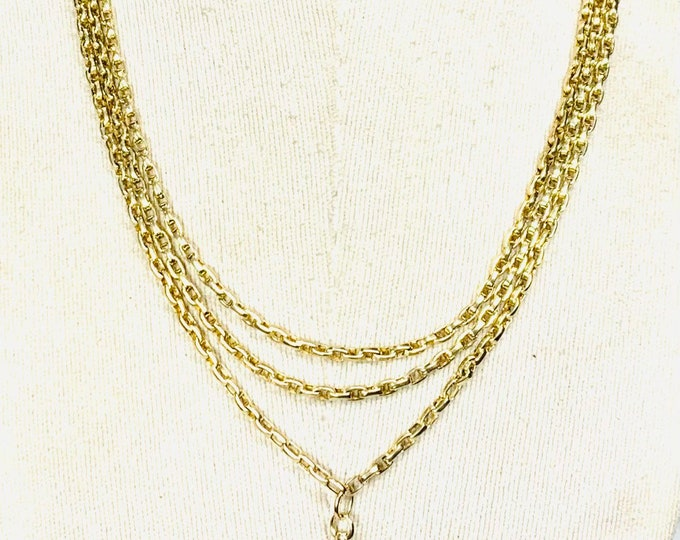 Stunning heavy antique Victorian 9ct yellow gold 64 inch Muff / Guard chain with dog clip pendant - 44gms